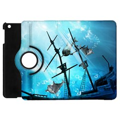 Awesome Ship Wreck With Dolphin And Light Effects Apple Ipad Mini Flip 360 Case by FantasyWorld7