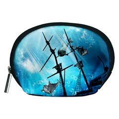 Awesome Ship Wreck With Dolphin And Light Effects Accessory Pouches (Medium)  by FantasyWorld7