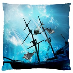 Awesome Ship Wreck With Dolphin And Light Effects Large Flano Cushion Cases (one Side)  by FantasyWorld7