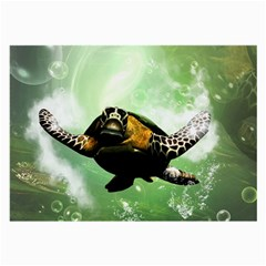 Wonderful Sea Turtle With Bubbles Large Glasses Cloth (2-Side) by FantasyWorld7