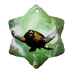 Wonderful Sea Turtle With Bubbles Snowflake Ornament (2 Side) by FantasyWorld7
