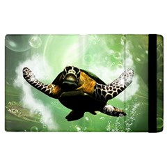 Wonderful Sea Turtle With Bubbles Apple Ipad 2 Flip Case by FantasyWorld7