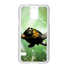 Wonderful Sea Turtle With Bubbles Samsung Galaxy S5 Case (white) by FantasyWorld7