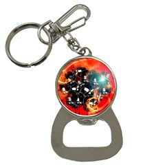 Black Skulls On Red Background With Sword Bottle Opener Key Chains by FantasyWorld7
