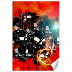 Black Skulls On Red Background With Sword Canvas 20  X 30   by FantasyWorld7