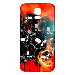 Black Skulls On Red Background With Sword Samsung Galaxy S5 Back Case (White) by FantasyWorld7