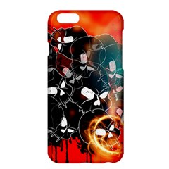 Black Skulls On Red Background With Sword Apple Iphone 6 Plus/6s Plus Hardshell Case by FantasyWorld7