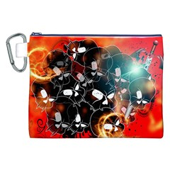 Black Skulls On Red Background With Sword Canvas Cosmetic Bag (xxl)  by FantasyWorld7