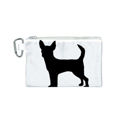 Chihuahua Silhouette Canvas Cosmetic Bag (S)
