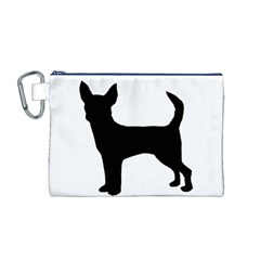 Chihuahua Silhouette Canvas Cosmetic Bag (M) by TailWags