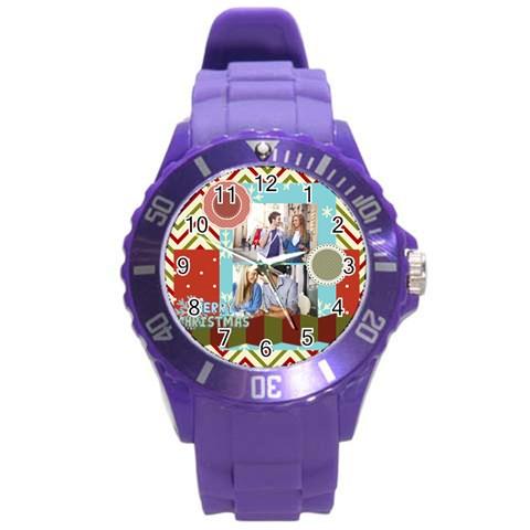 Xmas Merry Charsitmas By Joy   Round Plastic Sport Watch (l)   Xhug3dw7qfu2   Www Artscow Com Front