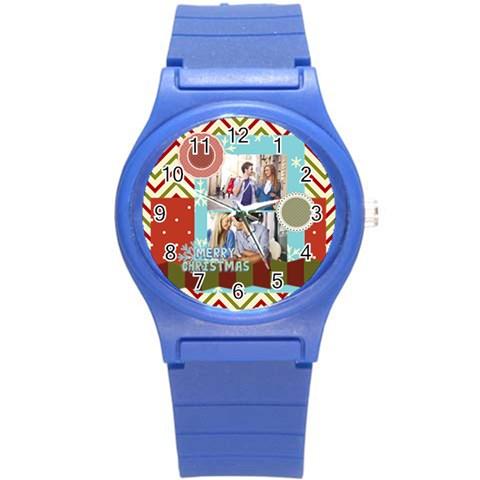 Xmas By Joy   Round Plastic Sport Watch (s)   6x739kvvo9i9   Www Artscow Com Front