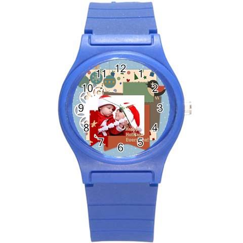 Xmas By Joy   Round Plastic Sport Watch (s)   Kgj9e5gmzxi3   Www Artscow Com Front
