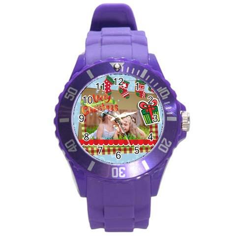 Xmas By Xmas   Round Plastic Sport Watch (l)   X5rxayl4qc3e   Www Artscow Com Front