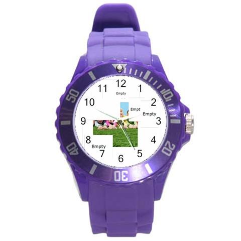 Xmas By Xmas   Round Plastic Sport Watch (l)   4bx8gou4ymhx   Www Artscow Com Front