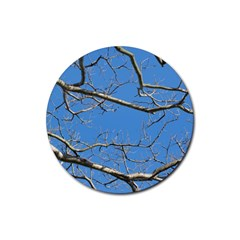 Leafless Tree Branches Against Blue Sky Rubber Round Coaster (4 Pack)  by dflcprints