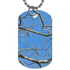 Leafless Tree Branches Against Blue Sky Dog Tag (two Sides) by dflcprints