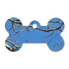Leafless Tree Branches Against Blue Sky Dog Tag Bone (two Sides) by dflcprints