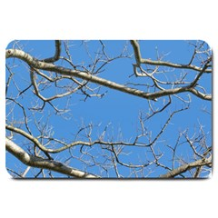 Leafless Tree Branches Against Blue Sky Large Doormat  by dflcprints
