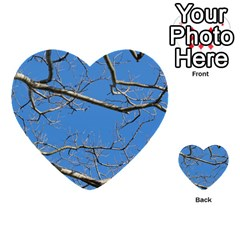 Leafless Tree Branches Against Blue Sky Multi Purpose Cards (heart)  by dflcprints