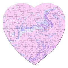 Unique Marbled 2 Baby Pink Jigsaw Puzzle (heart) by MoreColorsinLife