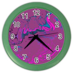 Unique Marbled 2 Hot Pink Color Wall Clocks by MoreColorsinLife
