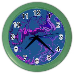 Unique Marbled 2 Blue Color Wall Clocks by MoreColorsinLife