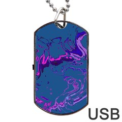Unique Marbled 2 Blue Dog Tag Usb Flash (one Side) by MoreColorsinLife