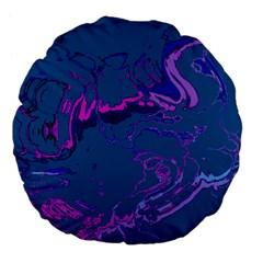 Unique Marbled 2 Blue Large 18  Premium Flano Round Cushions by MoreColorsinLife