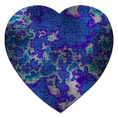 Unique Marbled Blue Jigsaw Puzzle (heart) by MoreColorsinLife
