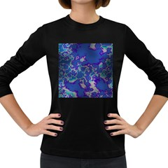 Unique Marbled Blue Women s Long Sleeve Dark T Shirts by MoreColorsinLife