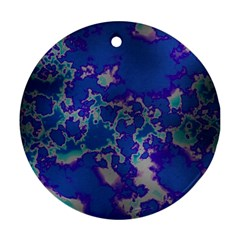Unique Marbled Blue Round Ornament (two Sides)  by MoreColorsinLife