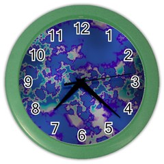 Unique Marbled Blue Color Wall Clocks by MoreColorsinLife