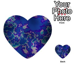 Unique Marbled Blue Multi Purpose Cards (heart)  by MoreColorsinLife
