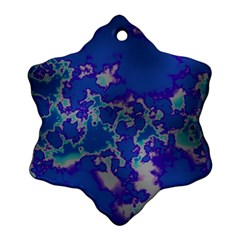 Unique Marbled Blue Ornament (snowflake)  by MoreColorsinLife