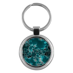 Unique Marbled Teal Key Chains (round)  by MoreColorsinLife