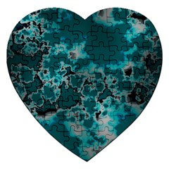 Unique Marbled Teal Jigsaw Puzzle (heart) by MoreColorsinLife