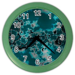 Unique Marbled Teal Color Wall Clocks by MoreColorsinLife