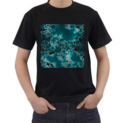 Unique Marbled Teal Men s T Shirt (black) by MoreColorsinLife