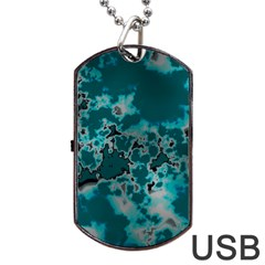Unique Marbled Teal Dog Tag Usb Flash (two Sides)  by MoreColorsinLife