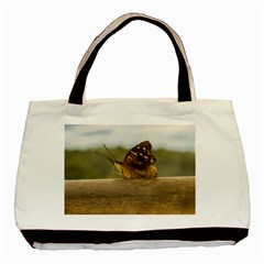 Butterfly Against Blur Background At Iguazu Park Basic Tote Bag (two Sides)  by dflcprints