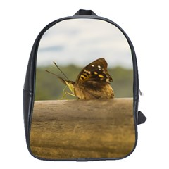 Butterfly Against Blur Background At Iguazu Park School Bags(large)  by dflcprints