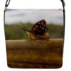 Butterfly Against Blur Background At Iguazu Park Flap Messenger Bag (s) by dflcprints