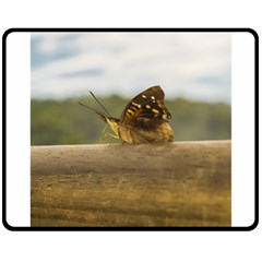Butterfly Against Blur Background At Iguazu Park Double Sided Fleece Blanket (medium)  by dflcprints