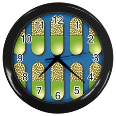 Capsule Pattern Wall Clocks (black) by theimagezone