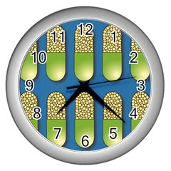 Capsule Pattern Wall Clocks (silver)  by theimagezone