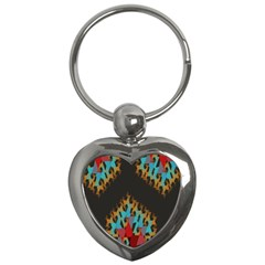 Blue, Gold, And Red Pattern Key Chains (heart)  by theunrulyartist