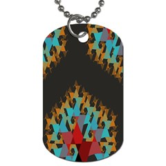 Blue, Gold, And Red Pattern Dog Tag (one Side) by theunrulyartist