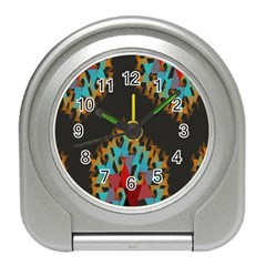 Blue, Gold, And Red Pattern Travel Alarm Clocks by digitaldivadesigns