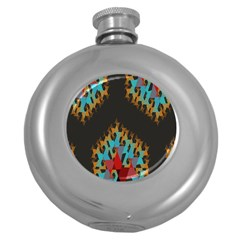 Blue, Gold, And Red Pattern Round Hip Flask (5 Oz) by digitaldivadesigns